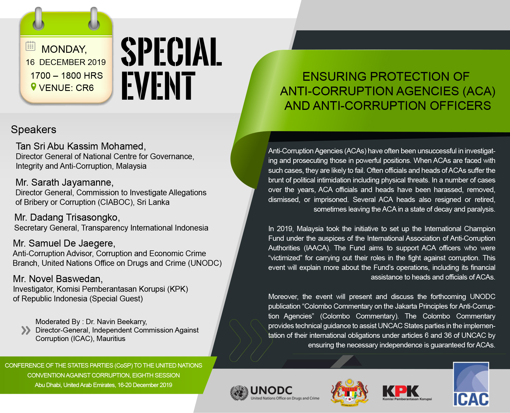Flyer Side Event during the Eighth Session CoSP 2